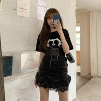 Fashion suit Summer 2021 S. M, l, average size White T-shirt, black T-shirt, skirt 18-25 years old 4*8
