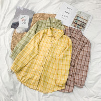 shirt Average size Summer 2020 other 30% and below Long sleeves commute Medium length Polo collar Single row multi button shirt sleeve lattice 18-24 years old Straight cylinder Korean version 4/5