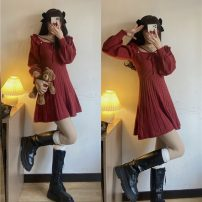 Dress Spring 2021 Red, black Average size Mid length dress singleton  Long sleeves commute square neck High waist A-line skirt routine 18-24 years old Type A Korean version 1*6