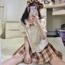 shirt Apricot, white Average size Summer 2020 other 31% (inclusive) - 50% (inclusive) Short sleeve commute Regular Doll Collar Single row multi button puff sleeve Solid color 18-24 years old 6-11