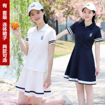 Dress Summer 2021 White dress, pink dress, Navy Dress, white suit, navy suit, beautiful and thin letter S,M,L,XL,2XL Mid length dress singleton  Short sleeve commute Polo collar middle-waisted Solid color Socket A-line skirt routine Under 17 Type A On Poetry Korean version More than 95%