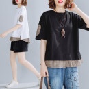 Women's large Summer 2020 Off white, black L [100-150 Jin], XL [150-200 Jin] T-shirt Fake two pieces commute easy thin Socket Sleeveless lattice literature Crew neck routine Cotton, hemp Three dimensional cutting routine Lace stitching 96% and above other Cotton 61% - 70%