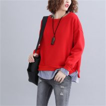 Women's large Winter 2020 gules L [110-160 kg], XL [160-200 kg] Sweater / sweater Fake two pieces commute easy thickening Socket Long sleeves Solid color literature Crew neck routine cotton Three dimensional cutting routine Other / other Three dimensional decoration 96% and above Medium length other