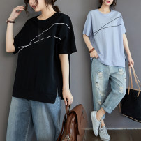 Women's large Summer 2021 White, blue, black L [100-150 Jin], XL [150-200 Jin] T-shirt singleton  commute easy thin Socket Short sleeve Solid color Korean version Crew neck routine cotton Three dimensional cutting routine Asymmetry 96% and above other Cotton 96% and above