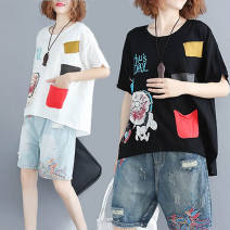 T-shirt White, black L [110-160 kg], 2XL [160-200 kg] Summer 2021 Short sleeve Crew neck easy Regular routine commute cotton 96% and above Korean version literature Cartoon, animation, letters Printing, patching