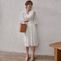 Dress Spring of 2019 white S M L XL Mid length dress singleton  three quarter sleeve commute V-neck High waist Solid color Socket A-line skirt pagoda sleeve Others 18-24 years old Type A UTTSE Korean version Flounce cut-out embroidery hook cut-out splicing zipper resin fixation lace D55-2019-1 other