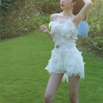 Dress Spring 2021 Off white, off white XS,S,M,L,XL,2XL,5XL Short skirt singleton  Sleeveless commute V-neck High waist Decor zipper A-line skirt camisole 18-24 years old Type A Other / other Korean version More than 95% Lace cotton