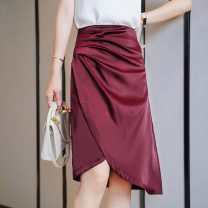 skirt Summer 2020 S,M,L,XL Mid length dress Versatile Natural waist Irregular Solid color Type A 25-29 years old 71% (inclusive) - 80% (inclusive) Silk and satin polyester fiber fold 201g / m ^ 2 (including) - 250G / m ^ 2 (including)