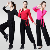 Square dance suit Ashall L XL 2XL 3XL cotton female routine 40-49 years old 50-59 years old over 60 years old Two piece set Long sleeves practice Solid color trousers yes other