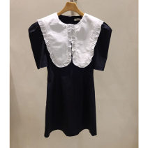 Dress Summer 2021 black S,M,L Mid length dress singleton  Short sleeve commute Doll Collar High waist Socket puff sleeve Others 25-29 years old Type X Smzy / Aestheticism Korean version fungus F89820 91% (inclusive) - 95% (inclusive) cotton