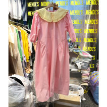 Dress Spring 2021 Pink S,M,L longuette singleton  Short sleeve commute Doll Collar Loose waist Solid color Socket other puff sleeve Others 25-29 years old Type A Smzy / Aestheticism Korean version Fungus, lace up F89638 81% (inclusive) - 90% (inclusive) other cotton