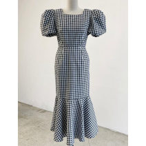 Dress Summer 2021 Black and white S,M,L longuette singleton  Short sleeve commute square neck High waist lattice Socket other puff sleeve Others 25-29 years old Type X Smzy / Aestheticism Korean version F89876 91% (inclusive) - 95% (inclusive) other cotton