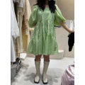 Dress Summer 2021 Black, green S,M,L Mid length dress singleton  Short sleeve commute square neck Loose waist Broken flowers Socket other puff sleeve Others 25-29 years old Type A Smzy / Aestheticism Korean version Pleat, pleat F89875 81% (inclusive) - 90% (inclusive) other cotton