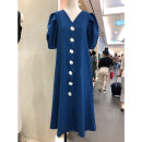 Dress Summer of 2019 Yellow, blue S,M,L longuette singleton  Short sleeve commute V-neck Loose waist Solid color Single breasted A-line skirt puff sleeve Others 25-29 years old Type A Smzy / Aestheticism Korean version Button F87163 31% (inclusive) - 50% (inclusive) nylon