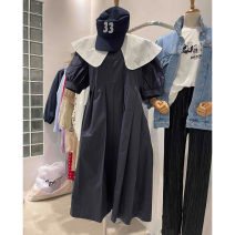 Dress Summer 2021 dark blue S,M,L Mid length dress singleton  Short sleeve commute Doll Collar High waist Solid color Socket other routine Others 25-29 years old Type A Smzy / Aestheticism Korean version Splicing F89851 91% (inclusive) - 95% (inclusive) cotton