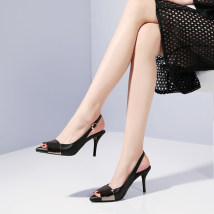 Sandals three hundred and forty-three billion five hundred and thirty-six million three hundred and seventy-three thousand eight hundred and thirty-nine Black gun color Jenny Molly top layer leather Fish mouth Fine heel High heel (5-8cm) Summer of 2018 Trochanter street Solid color Adhesive shoes