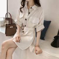 Women's large Summer of 2019 White, blue, apricot Dress singleton  commute easy Cardigan elbow sleeve Korean version Medium length Short skirt