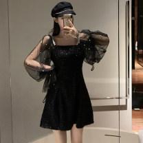 Women's large Spring 2020 black L【100-115】,XL【115-130】,2XL【130-150】,3XL【150-170】,4XL【175-200】 Dress singleton  commute Long sleeves Korean version puff sleeve Short skirt zipper