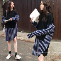 Women's large Spring of 2019 Picture color M [recommended 80-100 kg], l [recommended 100-115 kg], XL [recommended 115-130 kg], 2XL [recommended 130-150 kg], 3XL [recommended 150-170 kg], 4XL [recommended 170-200 kg] Dress Fake two pieces commute easy moderate Socket Long sleeves stripe Retro Collage