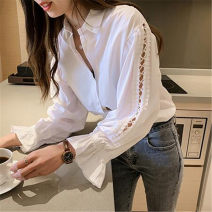 Women's large Autumn of 2019 white M [80-100 Jin], l [100-115 Jin], XL [115-130 Jin], 2XL [130-150 Jin], 3XL [150-170 Jin], 4XL [170-200 Jin] shirt singleton  commute easy thin Cardigan Long sleeves Solid color Korean version Polo collar routine Three dimensional cutting pagoda sleeve Other / other