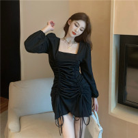 Dress Spring 2021 black L [100-120 Jin recommended], XL [120-140 Jin recommended], 2XL [140-160 Jin recommended], 3XL [160-180 Jin recommended], 4XL [180-200 Jin recommended] Short skirt singleton  Long sleeves commute square neck High waist Solid color Socket A-line skirt routine 18-24 years old