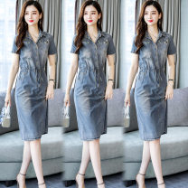 Dress Summer of 2019 Picture color S M L XL 2XL 3XL Mid length dress singleton  Short sleeve commute Polo collar middle-waisted Solid color Single breasted A-line skirt routine Others 25-29 years old Type A Yi Lanshan Korean version Embroidered pocket lace up buttons YLS19B1567 More than 95% Denim