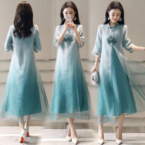 Dress Summer of 2019 Picture color S M L XL 2XL Mid length dress Fake two pieces three quarter sleeve commute Crew neck High waist other A-line skirt routine Others 30-34 years old Type A Yi Lanshan ethnic style Embroidery gauze YLS19A10872 More than 95% other Other 100% Pure e-commerce (online only)