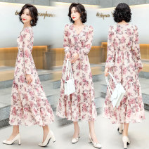 Dress Spring 2021 Grey red M L XL XXL Mid length dress singleton  Long sleeves commute V-neck High waist Broken flowers Socket A-line skirt routine Others 25-29 years old Type A Yi Lanshan Korean version Pleated lace up print YLS21A2283 More than 95% other other Other 100%