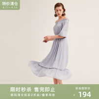 Dress Summer of 2018 62 blue, 67 midnight blue S,M,L,XL longuette singleton  elbow sleeve commute One word collar Elastic waist Solid color zipper routine 25-29 years old Type X Naivie literature See baby's description 184Q60445 31% (inclusive) - 50% (inclusive) other