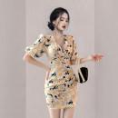 Dress Summer 2021 Decor S,M,L,XL Short skirt singleton  Short sleeve commute V-neck High waist Decor zipper Pencil skirt Others 18-24 years old Korean version Fold, zipper, print