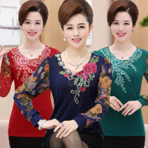 Middle aged and old women's wear Spring 2019, autumn 2019, spring 2021, autumn 2021 B flower vine -- Dahong, B flower vine -- Hulu, B flower vine -- Cangqing, B flower vine -- Baolan, C peony -- blue purple, C peony -- Dahong, C peony -- dark green fashion T-shirt easy singleton  40-49 years old thin