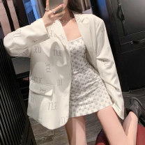 Dress Summer 2020 S M L Short skirt singleton  Sleeveless commute One word collar High waist Abstract pattern Socket One pace skirt other Breast wrapping 25-29 years old Type X Ounynyca / oneica Korean version Patchwork printing More than 95% brocade polyester fiber Polyester 100%