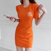 Dress Summer 2020 Orange S M L XL Short skirt singleton  Short sleeve commute Crew neck High waist Solid color Socket One pace skirt routine Breast wrapping 18-24 years old Type X Ounynyca / oneica Korean version Embroidery More than 95% brocade polyester fiber Polyester 100%