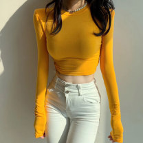 T-shirt S M L Autumn 2020 Long sleeves Crew neck Self cultivation have cash less than that is registered in the accounts routine commute polyester fiber 96% and above 18-24 years old Korean version youth Solid color Ounynyca / oneica Splicing Polyester 100% Pure e-commerce (online only)