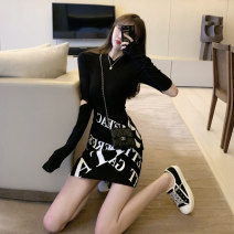 Dress Autumn 2020 White top + black skirt black top + black skirt S M L XL Short skirt Two piece set Long sleeves commute Crew neck High waist letter Socket A-line skirt routine Breast wrapping 25-29 years old Type X Ounynyca / oneica Korean version Stitched zipper print Olympic y356 More than 95%