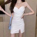 Dress Summer 2020 White yellow black S M L Short skirt singleton  Sleeveless commute V-neck High waist Solid color zipper One pace skirt other camisole 25-29 years old Type X Ounynyca / oneica Korean version Open back fold Aos3965 More than 95% brocade polyester fiber Polyester 100%