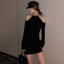 Dress Winter 2020 black S M L Short skirt singleton  Long sleeves commute Slant collar High waist Solid color Socket One pace skirt routine Breast wrapping 18-24 years old Type X Ounynyca / oneica Korean version Open back stitching Austria s4753 More than 95% brocade polyester fiber Polyester 100%