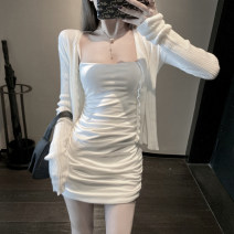 Dress Summer 2020 White suspender skirt cardigan black suspender white coat + white suspender white coat + black suspender S M L XL Short skirt singleton  Sleeveless commute One word collar High waist Solid color Socket One pace skirt other camisole 18-24 years old Type X Ounynyca / oneica Aos3294