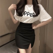 Dress Spring 2020 White + Black + blue black top + black skirt S M L XL Short skirt Two piece set Short sleeve commute Crew neck High waist Solid color Socket Pencil skirt routine Breast wrapping 18-24 years old Type X Ounynyca / oneica Retro Zipper printing Oy295d More than 95% brocade