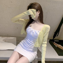 Dress Spring 2021 White dress yellow cardigan cardigan + suspender skirt S M L Short skirt Two piece set Sleeveless commute One word collar High waist Solid color Socket One pace skirt routine camisole 18-24 years old Type X Ounynyca / oneica Korean version Splicing thread Olympic y533a More than 95%