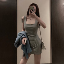 Dress Spring 2021 White black grey S M L Short skirt singleton  Sleeveless commute square neck High waist Solid color Socket Pencil skirt routine camisole 18-24 years old Type X Ounynyca / oneica Korean version Open back stitching More than 95% knitting polyester fiber Polyester 100%