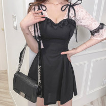 Women's large Summer 2021 black Dress singleton  commute Self cultivation moderate Conjoined three quarter sleeve Solid color Korean version V-neck Polyester, polyester Three dimensional cutting Lotus leaf sleeve 25-29 years old Lace stitching 31% (inclusive) - 50% (inclusive) Short skirt other