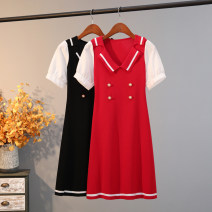 Dress Autumn 2020 Red, black Average size Mid length dress singleton  Short sleeve commute tailored collar High waist other Big swing 25-29 years old Type A Korean version 31% (inclusive) - 50% (inclusive) knitting