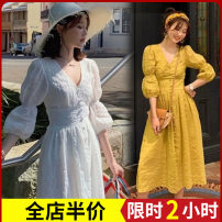 Women's large Spring 2020 Yellow dress apricot dress white dress Dress singleton  Sweet easy thickening Conjoined three quarter sleeve Solid color High collar Three dimensional cutting puff sleeve 2-29X1654 Zijing 18-24 years old Bandage longuette Other polyester 95% 5% Pure e-commerce (online only)