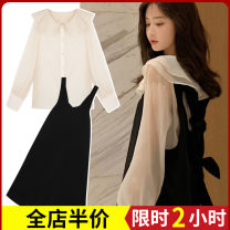 Women's large Autumn 2020 Black suit Dress Two piece set Sweet easy thickening Conjoined Long sleeves High collar routine puff sleeve C8390-3 Zijing 18-24 years old Bandage longuette Other polyester 95% 5% Pure e-commerce (online only) Irregular skirt straps solar system