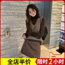 Women's large Winter 2020 Camel sweater + undershirt + skirt three piece suit [for slightly fat girls] single sweater [new sweater autumn 2020] undershirt + skirt two piece suit [small fragrance suit] Dress Three piece set Sweet easy thickening Conjoined elbow sleeve Solid color High collar routine