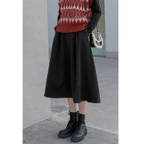 skirt Winter 2020 Average size black longuette commute High waist A-line skirt Solid color Type A 25-29 years old Xiong Xichen polyester fiber pocket