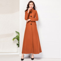 woolen coat Winter 2020 S,M,L,XL,2XL,3XL wool 30% and below have more cash than can be accounted for Long sleeves commute Single breasted routine stand collar Solid color Self cultivation Korean version 25-29 years old Button Solid color polyester fiber Tweed