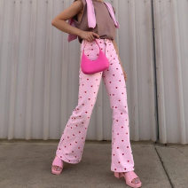 Casual pants Pink, woven fabric 100% polyester net weight: 0.41kg S,L,M Autumn 2020 trousers Wide leg pants High waist street routine 18-24 years old other belt