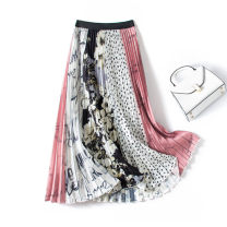 skirt Spring 2021 The skirt length is 75cm, 80cm and 85CM white Mid length dress Versatile High waist Splicing style Big flower Type A 81% (inclusive) - 90% (inclusive) Chiffon polyester fiber Fold, wave, line decoration, stitching, printing